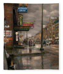 City - Amsterdam Ny -  Call 666 For Taxi 1941 Fleece Blanket