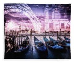 City Art Venice Gondola And Rialto Bridge Fleece Blanket