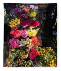 City Flower Stand Fleece Blanket