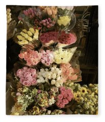 City Flowers In Vintage Colors Fleece Blanket