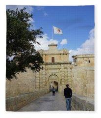 City Gates To Mdina, Malta Fleece Blanket