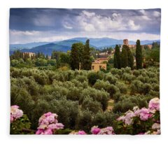 Tuscan Landscape With Roses And Mountains In Florence, Italy Fleece Blanket