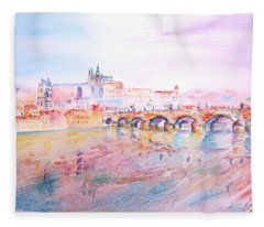 City Of Prague Fleece Blanket