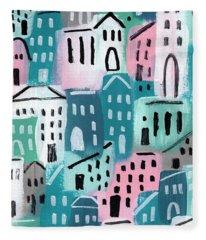 City Stories- Church On The Hill Fleece Blanket