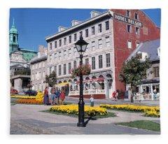 Cityscape Montreal Quebec Canada Fleece Blanket