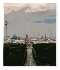 Cityscape Of Berlin - Painting Effect Fleece Blanket