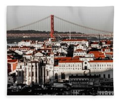 Lisbon In Black, White And Red Fleece Blanket