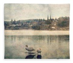 Cityscape Of Lucerna Fleece Blanket