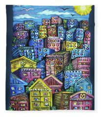 Cityscape Sculpture Fleece Blanket