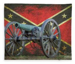 Civil War Cannon Rebel Flag Fleece Blanket