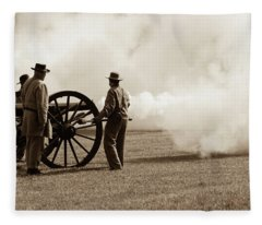 Civil War Era Cannon Firing  Fleece Blanket