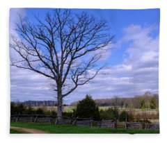Civil War Fence And Tree With No Leaves Next In Gettysburg Penns Fleece Blanket