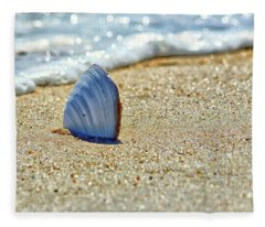 Clamshell In The Waves On Assateague Island Fleece Blanket