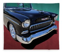 Classic Black And White 1950s Chevy Bel Air Fleece Blanket