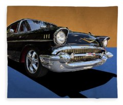 Classic Black Chevy Bel Air With Gold Trim Fleece Blanket