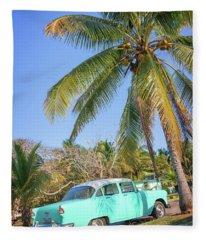 Classic Car In Playa Larga Fleece Blanket