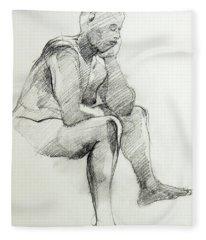 Classic Life Drawing Of A Sitting Man Sleeping Fleece Blanket