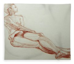 Classic Life Drawing Of A Young Female Nude With Crossed Arms Fleece Blanket