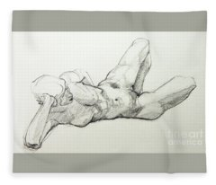 Classic Life Drawing Of A Young, Relaxed Female Nude Listening Fleece Blanket