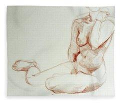 Classic Life Figure Drawing Of A Young Nude Woman  Fleece Blanket
