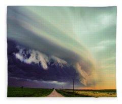 Classic Nebraska Shelf Cloud 024 Fleece Blanket