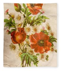 Classic Vintage Shabby Chic Rustic Poppy Bouquet Fleece Blanket