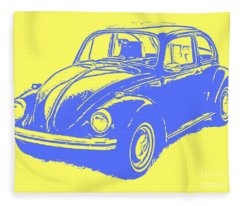 Classic Vw Beetle Tee Blue Ink Fleece Blanket