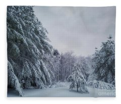 Classic Winter Scene In New England  Fleece Blanket