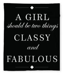 Classy And Fabulous - Chanel Quote Fleece Blanket