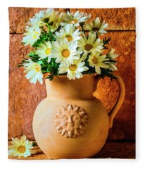 Clay Pitcher With Daises Fleece Blanket