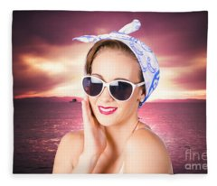 Clean Face Woman With Natural All-day Makeup Fleece Blanket