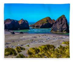 Clear Day At Meyers Beach Fleece Blanket