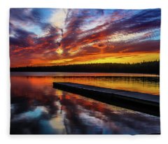 Clear Lake At Sunset. Riding Mountain National Park, Manitoba, Canada. Fleece Blanket