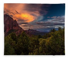 Clearing Storm Over Zion National Park Fleece Blanket