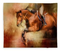 Clearing The Jump Equestrian Art Fleece Blanket