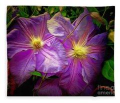 Clematis Azure Pearl Fleece Blanket
