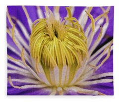 Clematis Macro Fleece Blanket