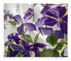 Clematis On A Fence Fleece Blanket