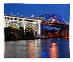 Cleveland Colored Bridges Fleece Blanket