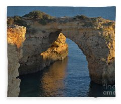 Cliff Arch In Albandeira Beach During Sunset 2 Fleece Blanket