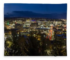 Cliff Drive Rush Hour - Spokane  Fleece Blanket