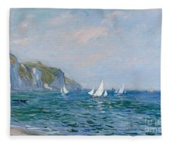 Cliffs And Sailboats At Pourville  Fleece Blanket