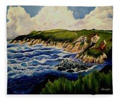 Cliffs And Sea Fleece Blanket