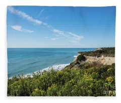 Cliffs Of Block Island Near Southeast Light Historic Lighthouse Fleece Blanket