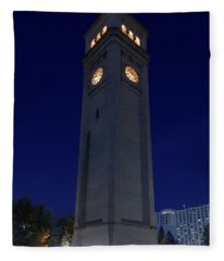 Clock Tower Spokane W A Fleece Blanket