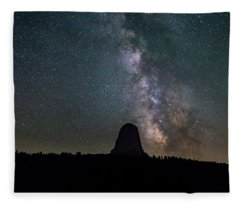 Close Encounter With The Milky Way At Devil's Tower Fleece Blanket