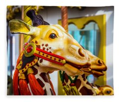 Close Up Giraffe Ride Fleece Blanket