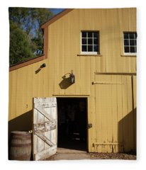 Close Up Of Landis Valley Yellow Barn Fleece Blanket