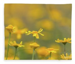 Close Up Of Yellow Flower With Blur Background Fleece Blanket
