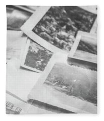 Close Up On Old Black And White Photographs Fleece Blanket